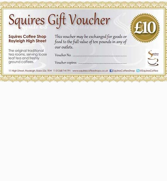 £10 gift-voucher Squires Rayleigh