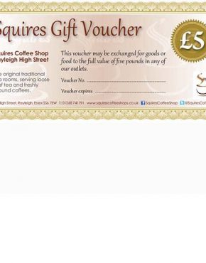 £5 gift-voucher Squires Rayleigh