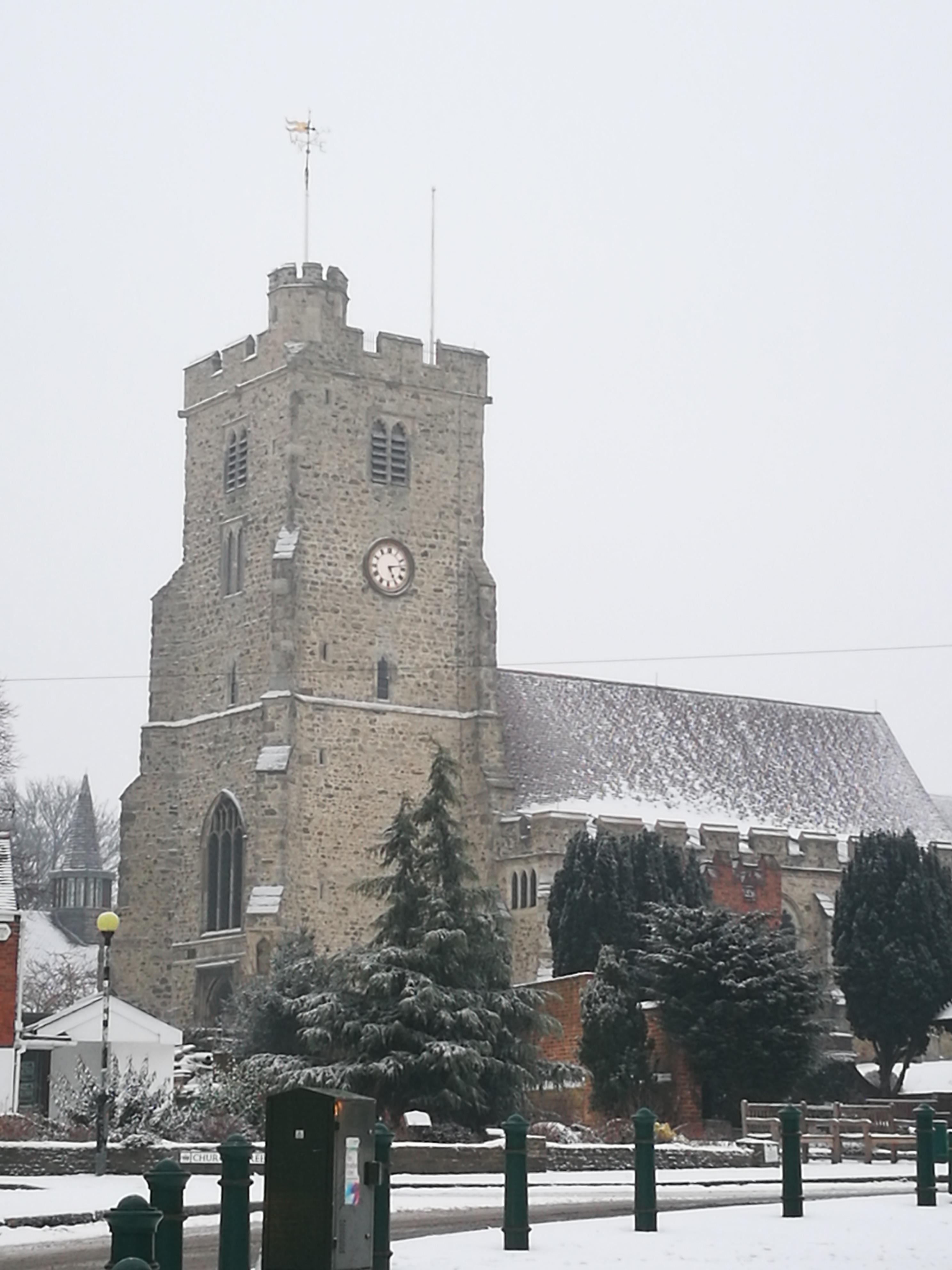 A snow covered Holy Trinity Church