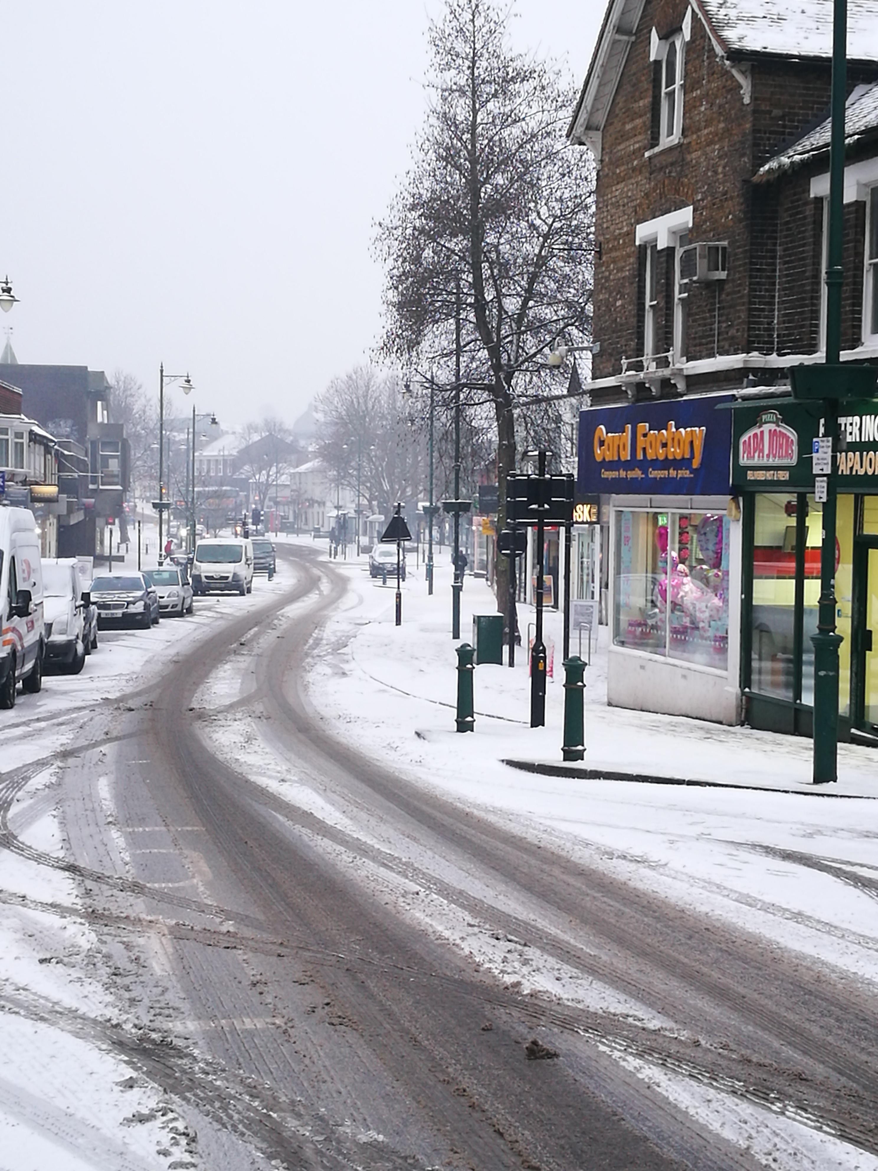 Snow covered Rayleigh High Street
